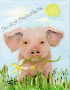 pig with daisy